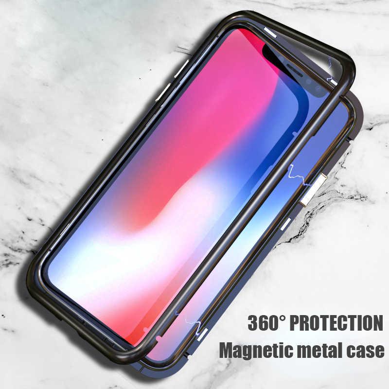 ماجنيتو المغناطيسي الامتزاز حقيبة لهاتف أي فون 6 6s 7 8 plus X 10 غطاء Fundas فاخر الألومنيوم معدن مع المغناطيس 9H الزجاج المقسى
