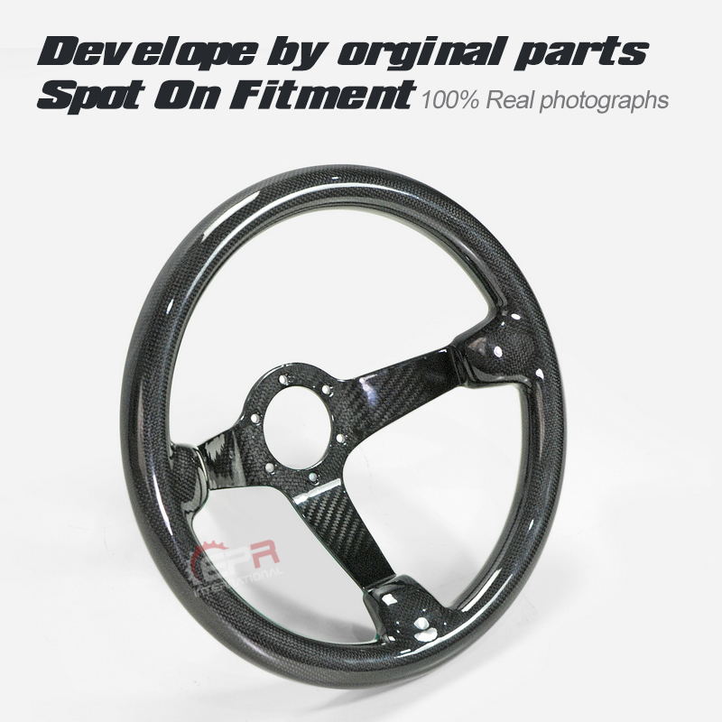 Dry Carbon Deep Dish Type Universal Steering Wheel 335mm Diameter, Deep Around 60mm, 6 Bolts 70mm PCD Fit For MOMO, OMP & Sparco