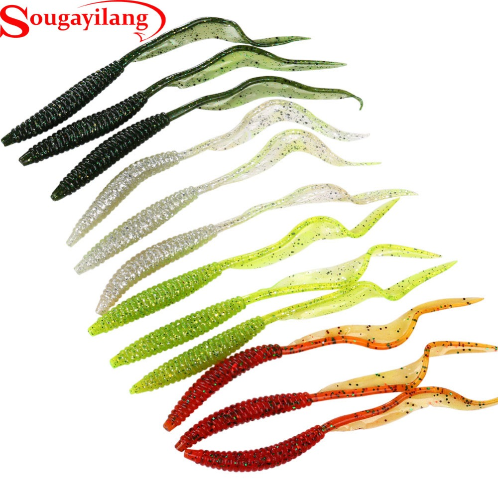 Sougayilang New 12pcs Soft Fishing Lure Set Long Tail Worm Wobbler Slatwater Minnow Popper Grub Bait Shad Jig Trout Earthworm 50pcs mix soft lure grub worm capuchin maggots fishing jig head hook bait set
