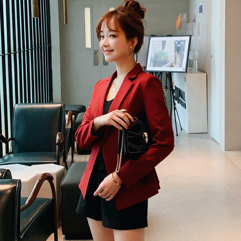 Women's suit jacket 2019 new Korean version of the self-cultivation business solid color Slim casual ruffled suit jacket