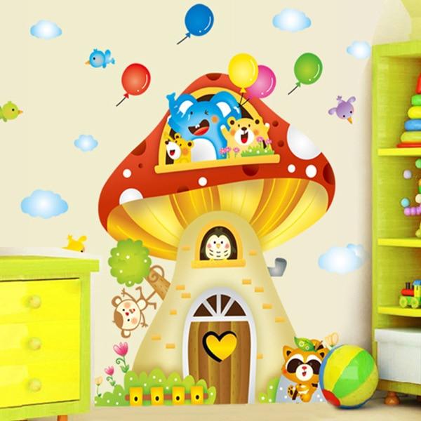 Animals Mushroom Tree house Wall decals Removable stickers kids nursery decor