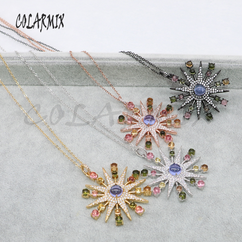 5 Strands Firework Necklace Flowers Necklace Wholesale Jewelry Necklace Costume Jewelry Stone Gems Jewelry Gift For Women 5047
