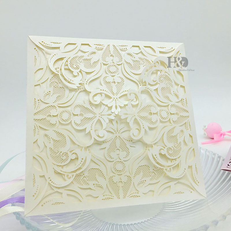 Wedding Invitations Business: 408PC Lace Envelope Delicate Carved Flowers Wedding