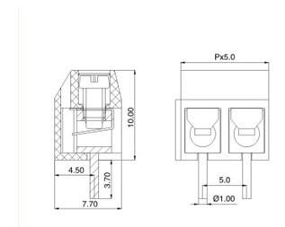 Free shipping 2pin PCB Screw Terminal Block 1000pcs-in