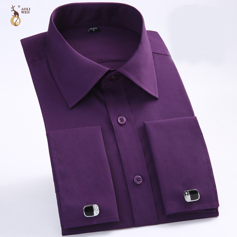 Aoliwen Men French Dress Shirt With Cufflinks Flannel Long Sleeve High Quality Smart Casual Shirt For Men Spring And Autumn