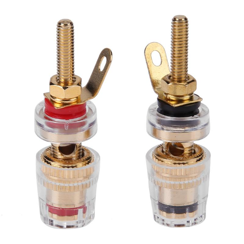 2pcs 4mm Brass Speaker Binding Posts For Thread Audio Speaker Amplifier Banana Plugs Terminals Connector