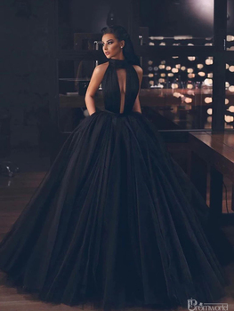 Black Backless Tulle Floor Length Prom Gown Long Formal Homecoming Graduation Dresses Vestidos De Gala Puffy Prom Dresses 2020