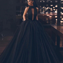 Black Backless Tulle Floor Length Prom Gown Long Formal Homecoming Graduation