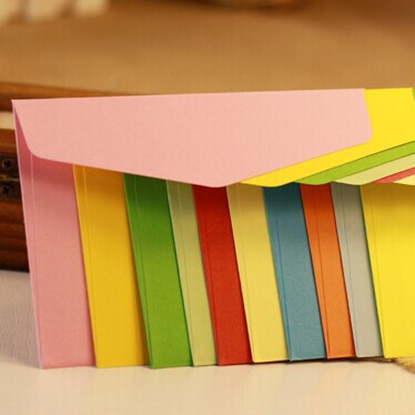 100 Pcs /set Candy Colors Size 22x11cm Ordinary Paper Gift Window Envelopes 10 Colors