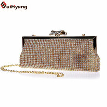 New Luxury Czech Rhinestone Ladies Evening Bag Sided Full Diamond Party Handbags Women Day Clutches Chain Shoulder Bags