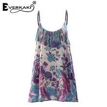 Everkaki Women Boho Flamingos Floral Tropical Print Slip Dress Vestidos Ruffles V Neck Bohemian Mini Dress Femme 2018 Summer New