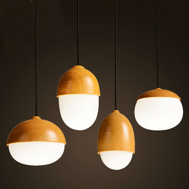 creative nuts pendant lamp imitation wood pendant lamp home decorative pendant light for barcafe
