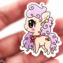 1PCS Little Horse Poni Pin Badge Cartoon Acrylic Badges Icons On The Backpack Decoration Brooch for hat shoes T-shirt Clothing(China)