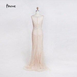 Image 3 - Finove robe longue de soirée, forme sirène, dillusion Sexy, tenue de soirée de standing, col rond transparent, tenue de fête, 2020