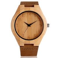 Simple Bamboo Analog Quartz Nature Wood Wrist Watch Women Ladies Hot Bangle Genuine Leather Band Strap