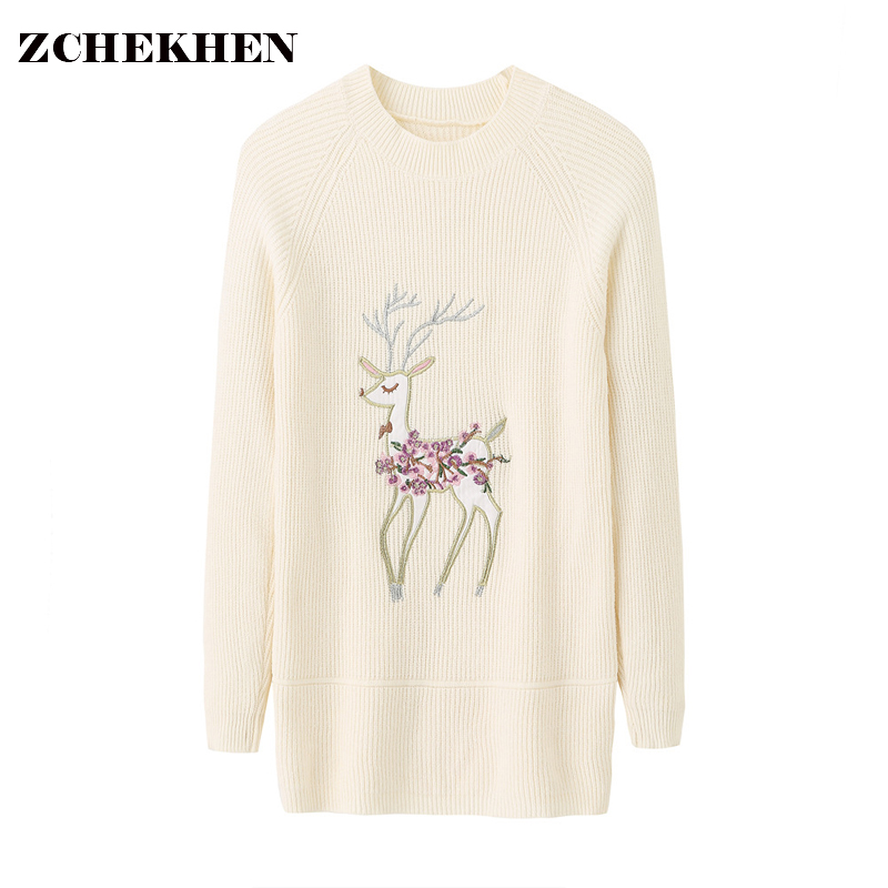 Winter Christmas deer print Sweaters Women 2018 spring O-neck Long Sleeve Pullovers Knitted Sweater Female Warm Tops 0018