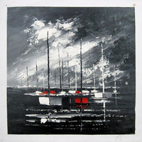 Hand Painted Abstract Seascape Art Oil Painting Black Or Blue Sea Ship Picture Canvas Art Home