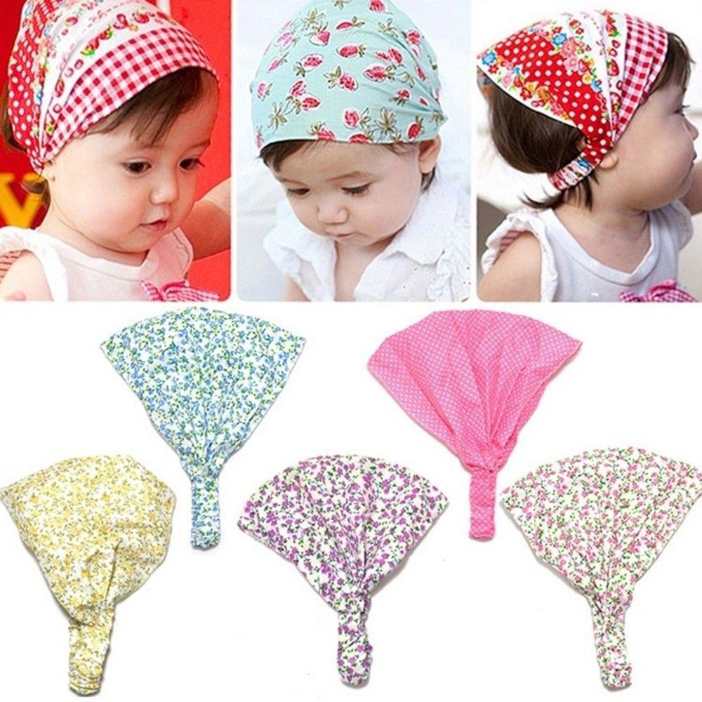 Baby Toddler Bandana Hats Kid Newborn Flower Headband Hair Wear Accessories Headscarf Headwears 5 Colors  For Kids Girls