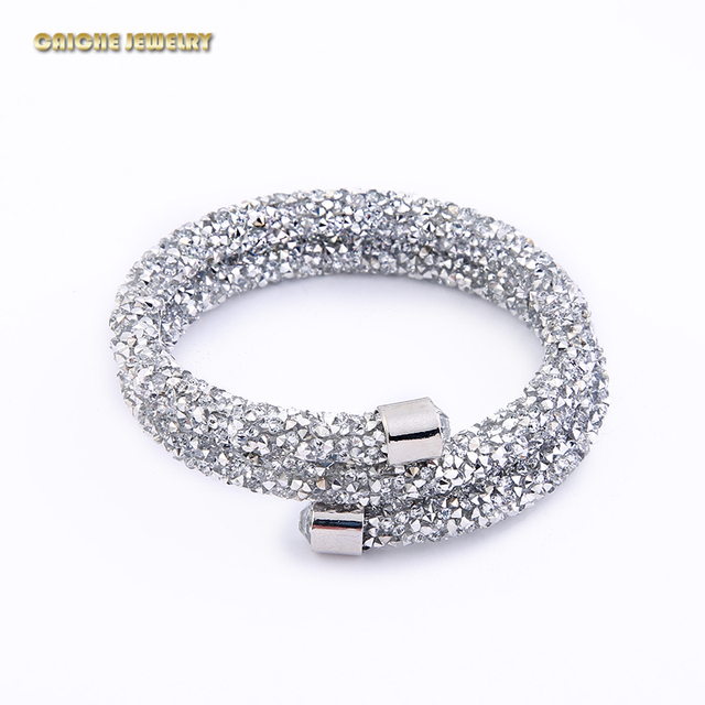 Free Shipping Double Crystal Bracelets Wrap Bangle  Crystal Cuff Bracelets Paved Full Crystal  Bangles  19 Colors
