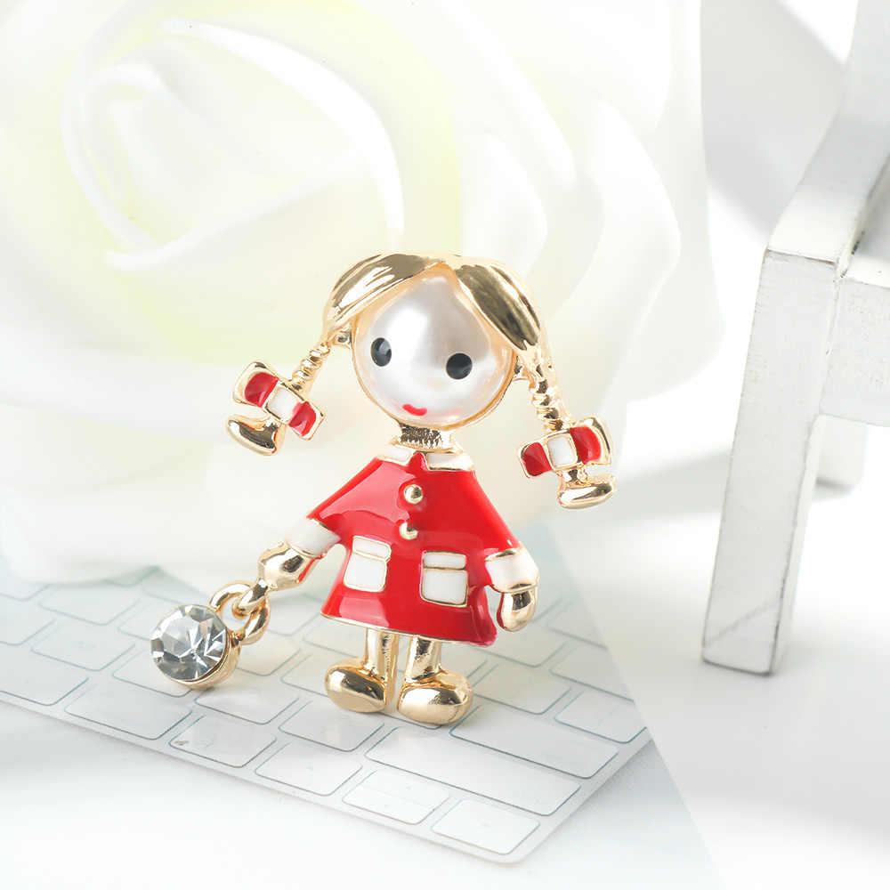 2019 новая красная эмаль маленькая брошь с дизайном «Девочка» Для женщин милая Мода Лолита Брошь булавка Летний стиль футболка ювелирные изделия ребенок хороший подарок