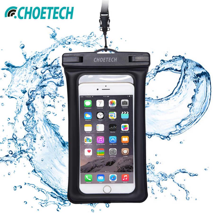 b0d338125d16 CHOETECH ясно ТПУ надувные водонепроницаемый чехол для мобильного телефона  с ремешком Обложка Сухой Чехол для samsung