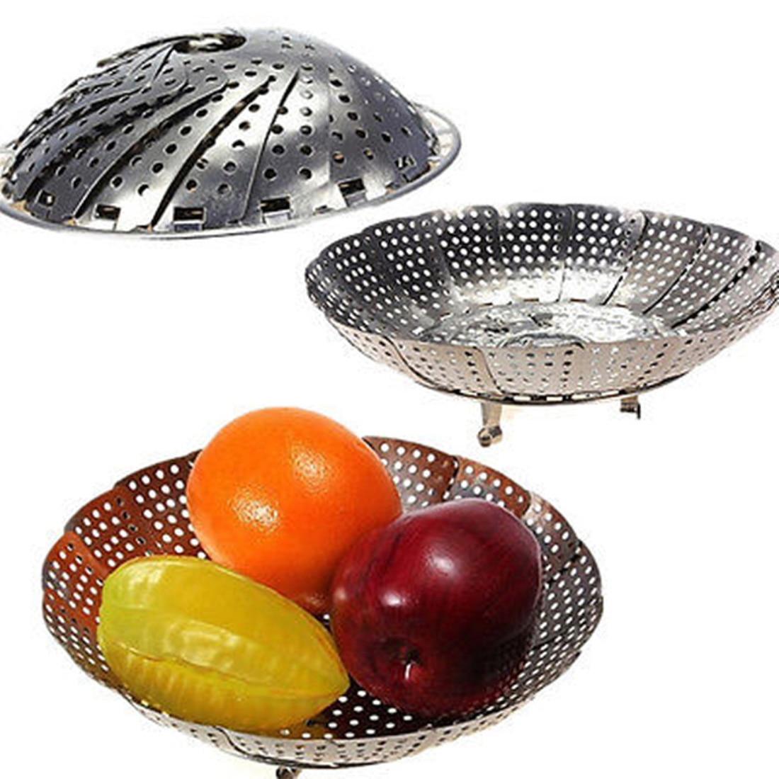 2016 Popular Cookware Stainless Steaming Basket Stainless Steamer Folding Food Fruit Vegetable Dish Steamer