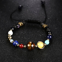 Фотография Unique Star Planet Galaxy Natural Stone Bead Bracelet Women Fashion Jewelry Gift