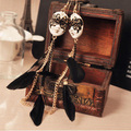 vintage baroque chain feather tassel mask ball improper face extra long earrings for women E066