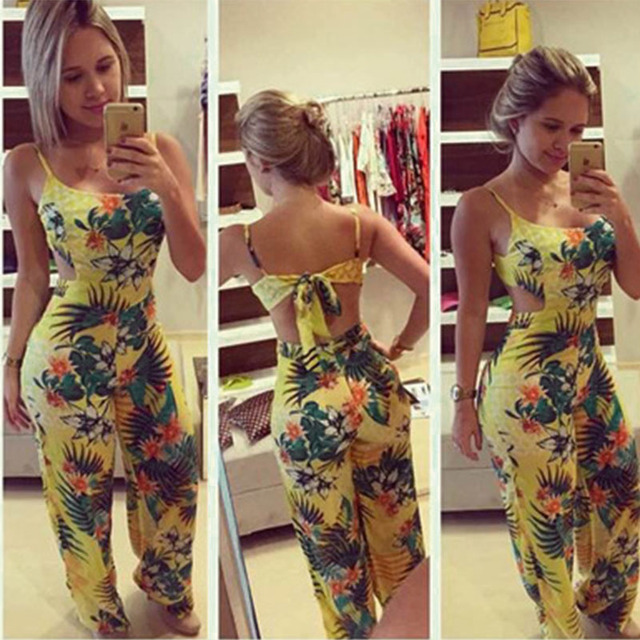 Hot Sale Summer Women Sexy Clubwear Flora Playsuit Bodycon Party Bandage Long Jumpsuit Yellow Printed Beach Rompers CL2831