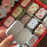 Cajas de Plastico Square Tin caja de belleza de la flor maquillaje organizador de cosméticos 12 unid/lote de Metal pequeño té monedas, píldoras caja de regalo