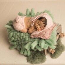 45x45 см Хлопок Веревка крючком ребенка фотосессии одеяло новорожденных Фото фон толстый вязаный матрас