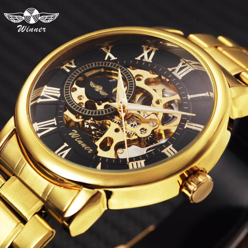 Ganador clásico de oro esqueleto mecánico reloj hombres de acero inoxidable correa de reloj de hombre de lujo Vip gota al por mayor