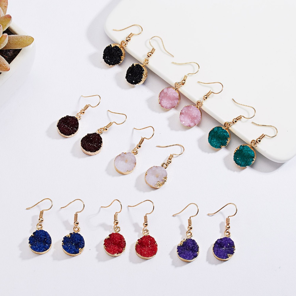 RINHOO, дизайн, геометрические, Круглые, из смолы, натуральный камень, серьги для женщин, элегантные, цветные, висячие серьги для женщин, вечерние, ювелирное изделие, подарок