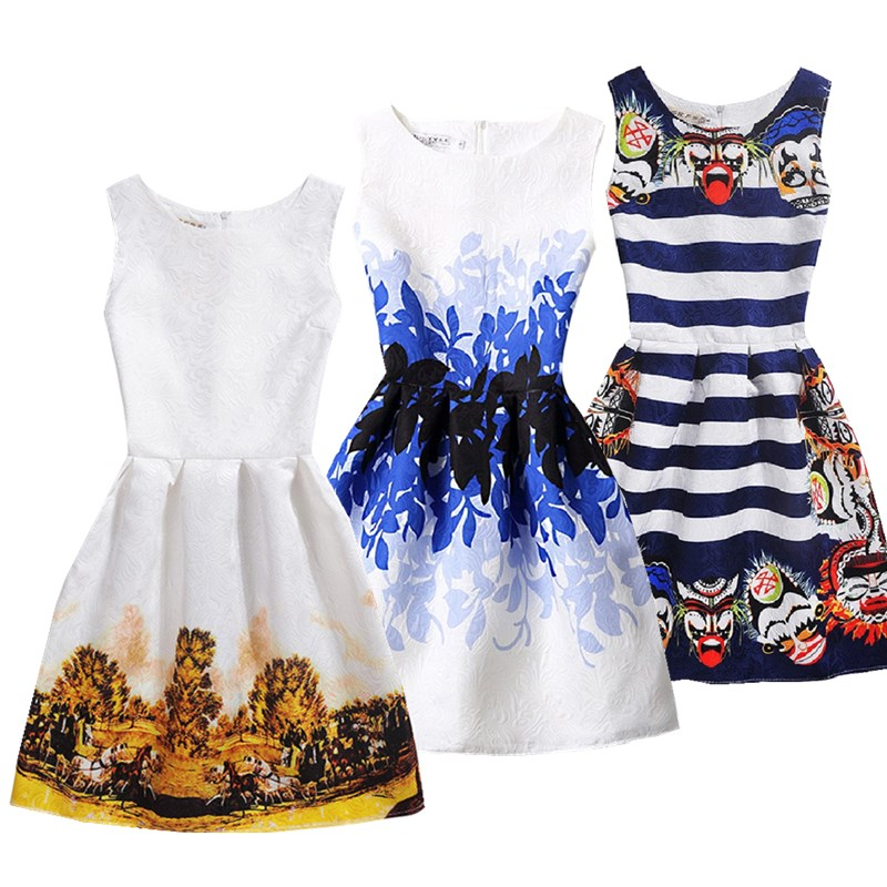 New christmas dress for girls print sleeveless girl princess dress party 13 - 20 years dress of girls Teenage dress clothes print sleeveless midi dress