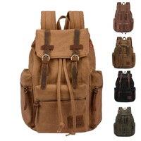 Vintage Men's Backpack Men Casual Canvas Leather Backpack Rucksack Satchel Bag School Bag mochila masculina