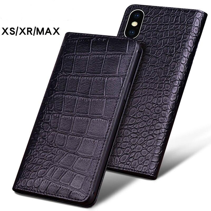 De luxe En Cuir de Crocodile Véritable Téléphone étuis pour IPhone XS XS MAX Étui De Téléphone De Mode Sacs pour IPhone XR Cas