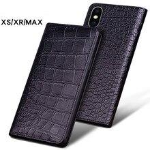 Lujosas fundas de teléfono de cuero de cocodrilo auténtico para IPhone XS MAX, fundas de teléfono modernas para IPhone XR