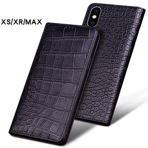 Image 1 - Luxury Genuine Crocodile Leather Phone Cases for IPhone XS XS MAX Case Fashion Phone Bags for IPhone XR Case