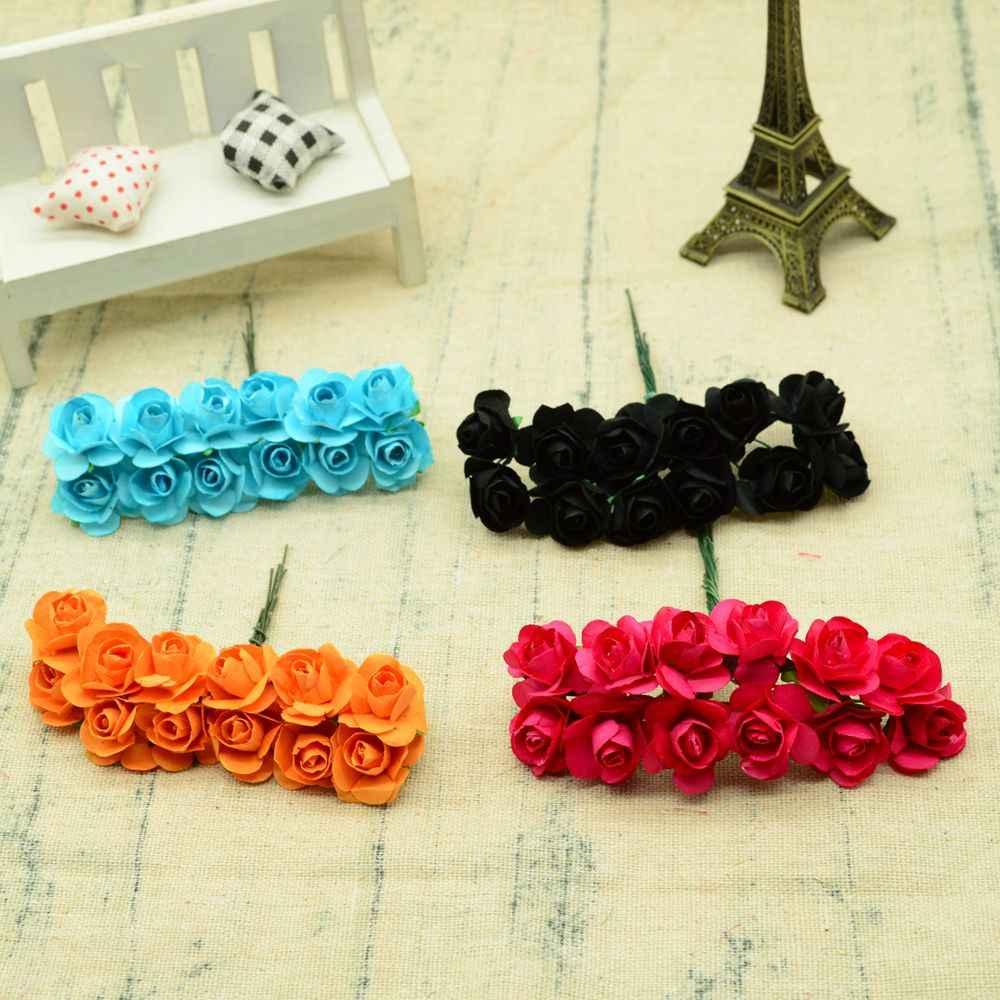 12 pièces 1.5 CM MINI papier roses fleurs pour scrapbooking décorations de noël pour maison mariage bricolage cadeaux boîte fleurs artificielles