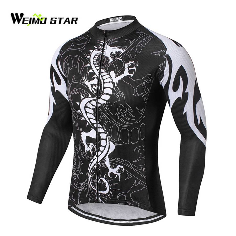Spring Black Dragon Cycling Jersey Long Sleeve Weimostar Men Spring Biking Clothing Riding MTB Ropa Ciclismo Tops S-XXXL