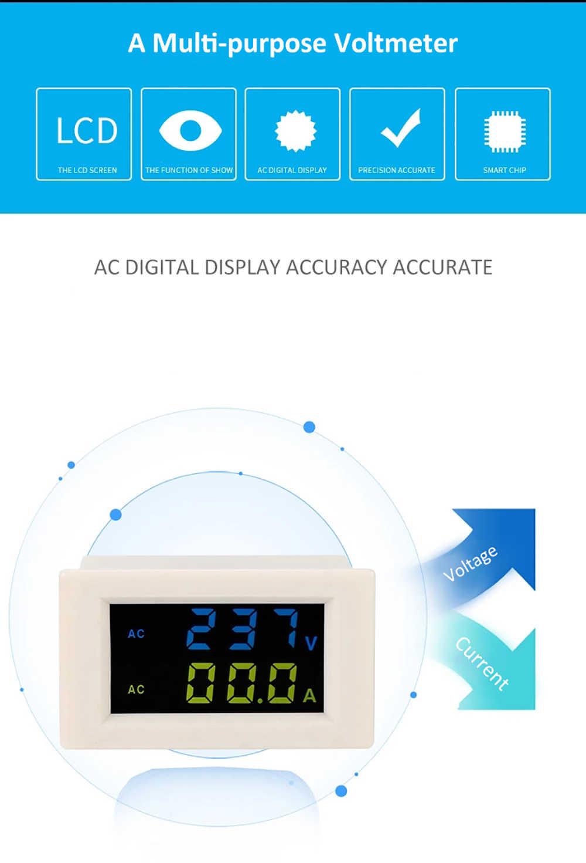 D85-2042A مزدوجة شاشة ديجيتال LCD الفولتميتر مقياس التيار الكهربائي Ampermeter AC80-500V الجهد متر الحالي متر فاحص