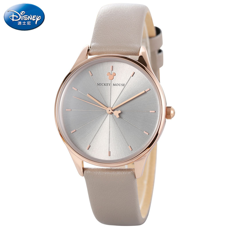 DISNEY Quartz Watch Women Leather Waterproof Ladies Watch Mickey Casual Wrist Watches For Women Blue Pink Montre Femme