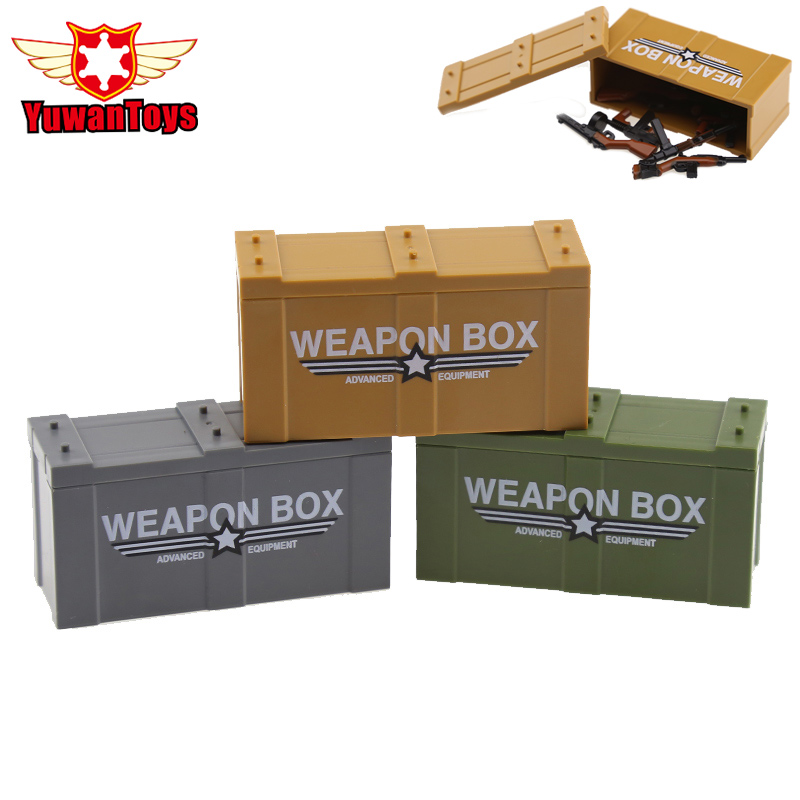 3 Styles Weapon Boxs Building Blocks WW2 Military Swat Police Gun Educational Toys For Kids