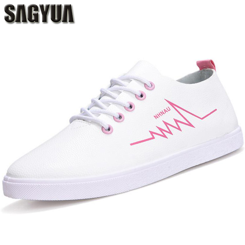 SAGYUA Newest Fashion Spring Autumn Students Lady Lace-Up PU Round Toe Women Zapatos Mujer Casual Female Shoes Chaussures T051