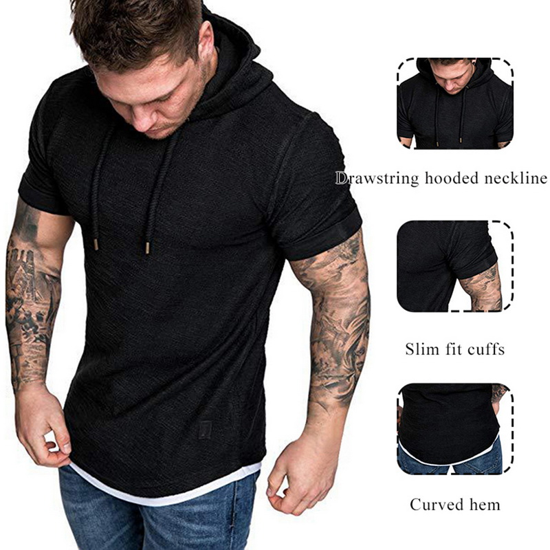 HTB1R6FHRwTqK1RjSZPhq6xfOFXap Laamei Men's T Shirt 2019 Summer Slim Fitness Hooded Short Sleeved Tees Male Camisa Masculina T Shirt Slim Tshirt Homme 3XL