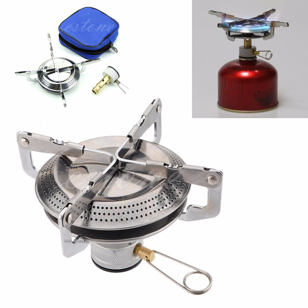 Amiable Outdoor Stainless Steel Gas Stove Picnic Camp Backpacking Case Hiking Bbq W20