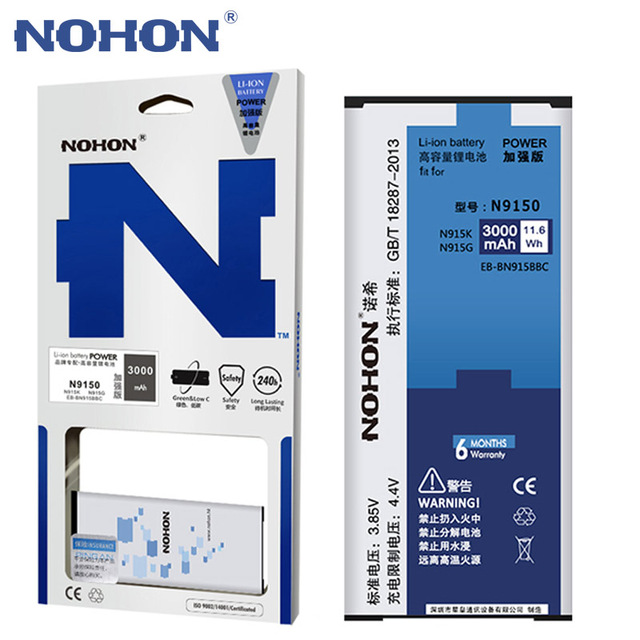 Оригинальный NOHON Батарея для samsung Galaxy Note Edge N9150 EB-BN915BBC N915G N915K N915L N915S литий-ионная Batarya 3000 мАч