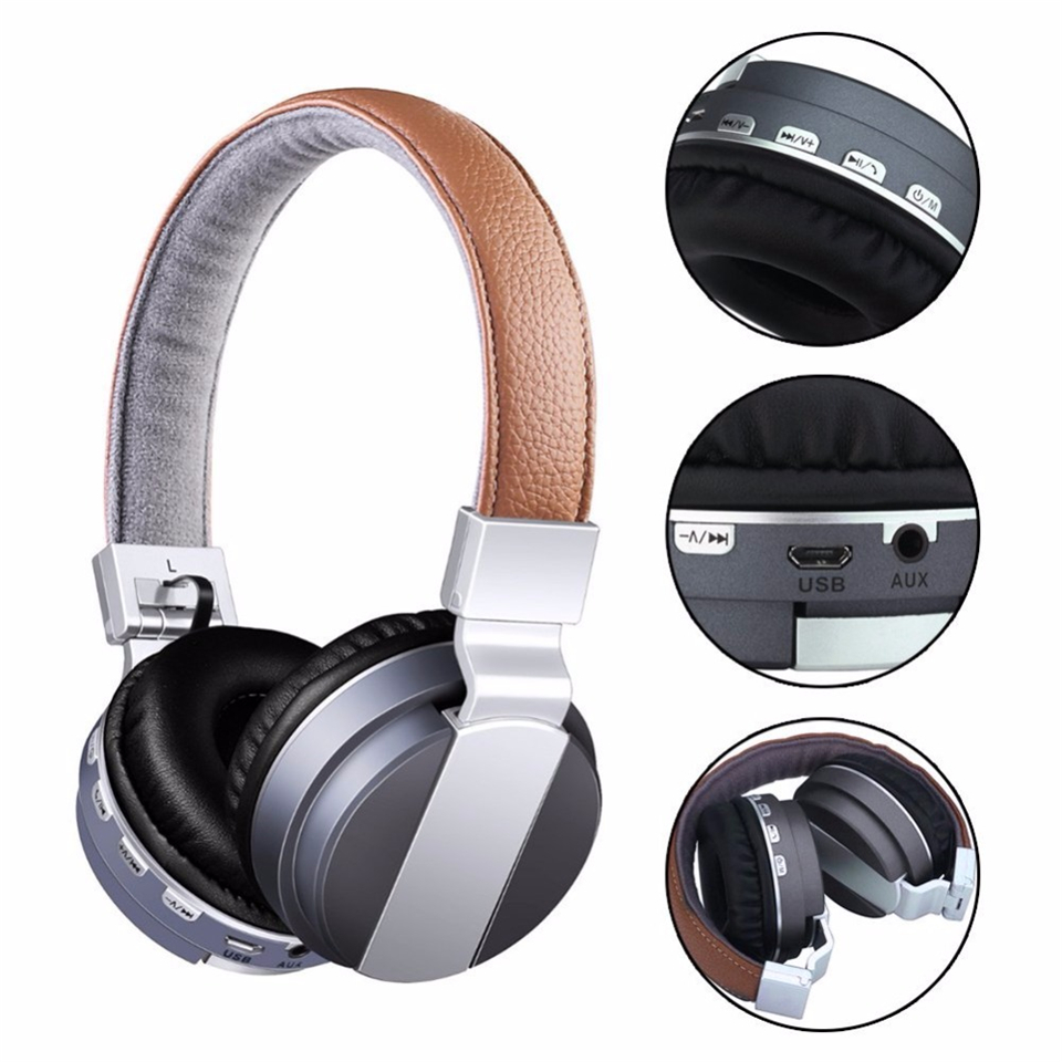 Foldable Wireless Bluetooth Headband Noise Cancelling HD Stereo Base Music Headset Earphone With FM Radio AUX 3.5mm TF Card MP3