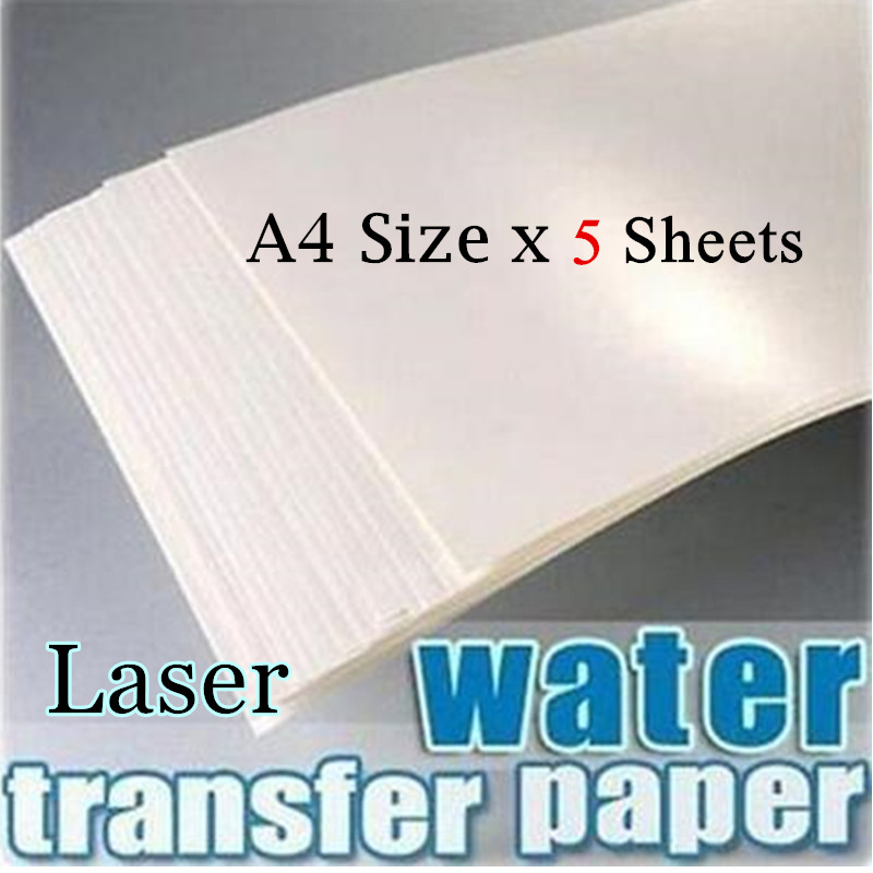 (5sheets/lot) Laser Water Slide Decal Paper No Need Varnish Water Transfer Paper White Background Color A4 Size (8.3*11.7 Inch)