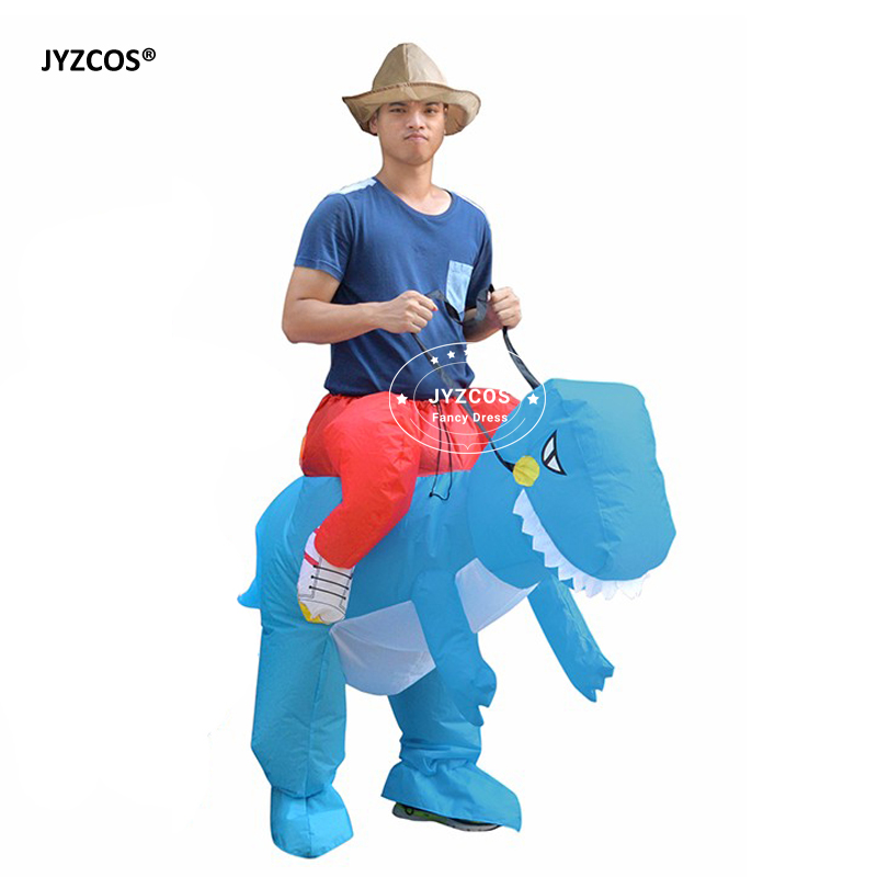 JYZCOS Man Riding inflatable T-rex Dinasour Costume Fan Operated Costumes Halloween Party Fancy Dress Animal Costume for Adults (2)